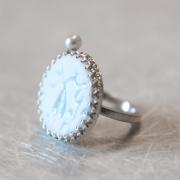 Ring »Spitze«, Porzellan, Perle