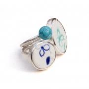 Ring »Blumen«, Porzellan & Türkis